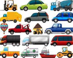 Satz verschiedene Arten von Autos und Lastwagen lokalisiert auf weißem Hintergrund vektor