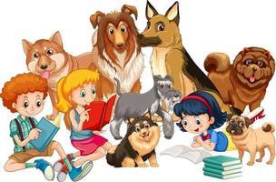 grupp av barn med sina hundar vektor