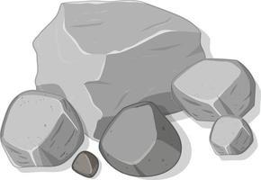 grupp grå stenar på vit bakgrund vektor