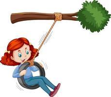 Mädchen, das Reifenschaukel unter dem Zweig auf weißem Hintergrund spielt