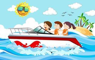 barn som står på en motorbåt på strandscenen