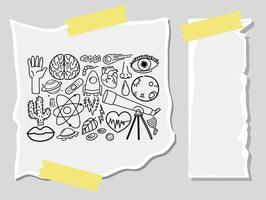 olika klotterstreck om vetenskaplig utrustning på ett papper vektor