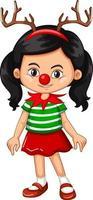flicka klädd i renhuvud och röd näsa juldräkt vektor
