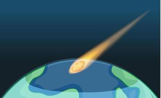 astroid som faller till jorden med tom himmel vektor