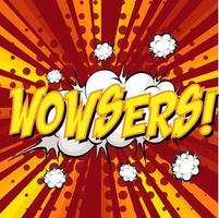 wowsers formulering komisk pratbubbla på burst vektor