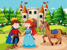 scen med prins och prinsessa på slottet vektor