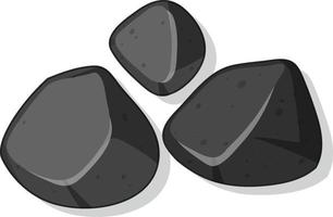 Satz schwarze Steine lokalisiert auf weißem Hintergrund vektor