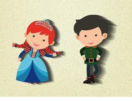 liten prinsessa och vakt seriefigur vektor