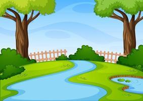 leere Parkszene mit vielen Bäumen und Fluss am Tag vektor