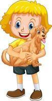 ein Mädchen, das niedlichen Hundkarikaturcharakter lokalisiert auf weißem Hintergrund hält vektor