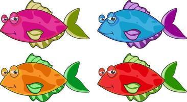 uppsättning av många roliga fiskar seriefiguren isolerad på vit bakgrund vektor