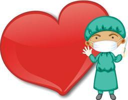 leere große Herzfahne mit einem Arzt, der Maskenkarikaturfigur trägt vektor