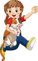 ein Mädchen, das niedlichen Katzenkarikaturcharakter lokalisiert auf weißem Hintergrund hält vektor