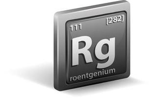 roentgenium kemiskt element. kemisk symbol med atomnummer och atommassa. vektor