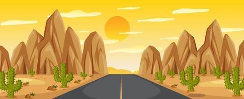 ökenväglandskap vid solnedgången vektor