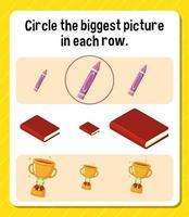 Kreisen Sie das größte Bild in jedem Zeilenarbeitsblatt für Kinder ein