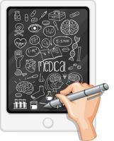 Handzeichnung medizinisches Element auf Tablette vektor