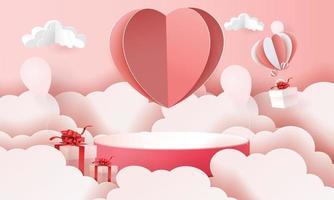 3d Papierkunstpodest in den Wolken für Valentinstag mit Herzen und Geschenken vektor