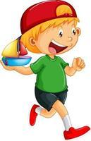 ein Junge, der eine Schiffsspielzeugkarikaturfigur lokalisiert auf weißem Hintergrund hält vektor