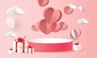 Produkthintergrund des roten Podiums 3d für Valentinstag. Rosa und Herz lieben Romantik Konzept Design Vektor Illustration Dekoration Banner