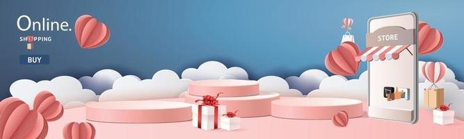 Online-Shopping am Telefon mit Podium Papier Kunst modernen Hintergrund mit Geschenkboxen vektor