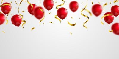 goldene Konfetti-Glitzer der roten Luftballons für Ereignis- und Feiertagsplakat. Hintergrundfeier Vektor-Illustration.