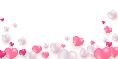 rosa weiße Luftballons, Goldkonfetti-Konzeptentwurfsschablone für Valentinstag
