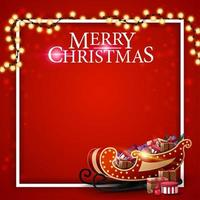 god jul, fyrkantig röd mall för vykort med plats för din text, ram, krans och santa släde med presenter vektor