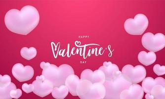 lycklig alla hjärtans dag rosa hjärtan bakgrund firande vektor