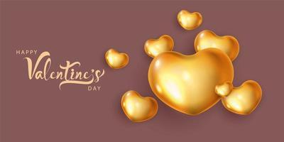 Goldherzballons und Valentinstag, Hintergrundfeiervektorillustration.