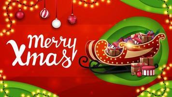 Frohe Weihnachten, rotes und grünes Rabattbanner im Papierschnittstil mit Girlanden, Weihnachtskugeln und Weihnachtsschlitten mit Geschenken vektor