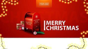 Frohe Weihnachten, rote moderne Postkarte für Website mit Girlande und Santa Briefkasten mit Geschenken