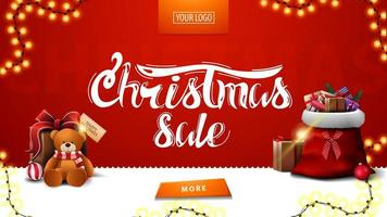 Weihnachtsverkauf, rotes modernes Banner für Website mit Girlande, Knopf, Weihnachtsmann-Tasche und Geschenk mit Teddybär