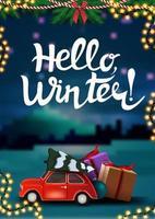 hej vinter, vertikalt vykort med vinterlandskap på bakgrund, julgirlander och röd veteranbil som bär julgran