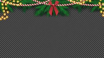 isolerad julgransgirland med rosett och glödlampa vektor