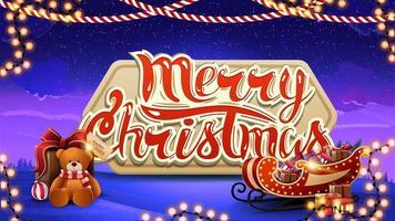 Frohe Weihnachten, blaue Postkarte mit volumetrischem großem Logo, Winterlandschaft auf Hintergrund und Weihnachtsschlitten mit Geschenken