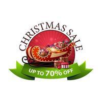 rundes Weihnachtsrabattbanner mit Weihnachtsschlitten mit Geschenken. Rabatt-Gutschein mit grünem Band lokalisiert auf weißem Hintergrund vektor