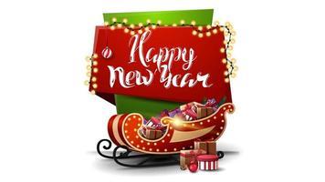 Frohes neues Jahr, rote und grüne vertikale Grußpostkarte für Ihre Kreativität im Cartoon-Stil mit Girlande, schönem Schriftzug und Weihnachtsschlitten mit Geschenken