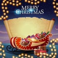 Frohe Weihnachten, Postkarte mit altem leerem Pergament, schöne Landschaft auf dem Hintergrund und Weihnachtsschlitten mit Geschenken