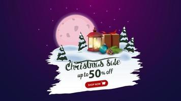 Weihnachtsverkauf, bis zu 50 Rabatt, Rabatt Banner mit rosa Vollmond, Kiefernwald, Geschenk und antike Lampe. weiß zerrissenes Banner vektor