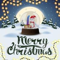 god jul, fyrkantigt vykort med nattvinterlandskap, fullmåne, tallar, drivor och stor snöklot med snögubbe vektor