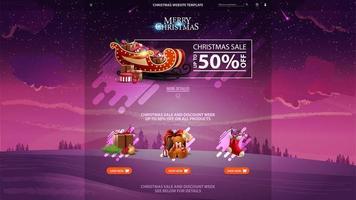 jul försäljning design webbplats mall med rabatt banner, vackra ikoner och vinterlandskap i bakgrunden