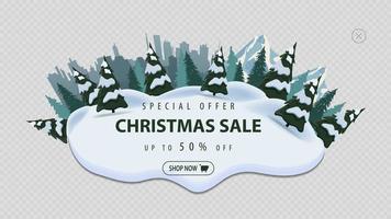 Sonderangebot, Weihnachtsverkauf, bis zu 50 Rabatt, modernes Rabattbanner mit Kiefern, Drifts, Berg und Stadt auf Horizont vektor