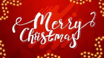 Frohe Weihnachten, schöne Beschriftung auf rotem Hintergrund für Ihre Künste