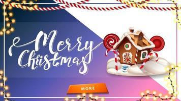 god jul, vykort för webbplats med vackra bokstäver, kransar, jul pepparkakshus och knapp
