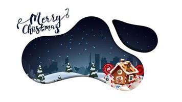 god jul, modernt vykort i lavalampstil med vacker natt tecknad landskap, silhuett stad och pepparkakshus jul isolerad på vit bakgrund