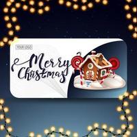 god jul, modernt vykort med rundade hörn, vackra bokstäver och pepparkakshus för jul
