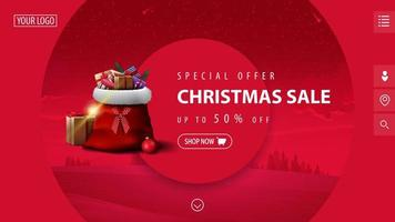 specialerbjudande, julförsäljning, upp till 50 rabatt, vacker rosa modern rabattbanner med stora dekorativa cirklar, vinterlandskap på bakgrund och jultomtepåse med presenter