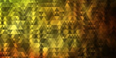 dunkelgrüne, gelbe Vektortextur mit Linien, Dreiecken.