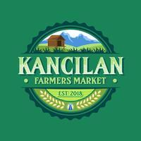 Weinlese-Kancilan-Landwirt-Markt-Logo Vector
